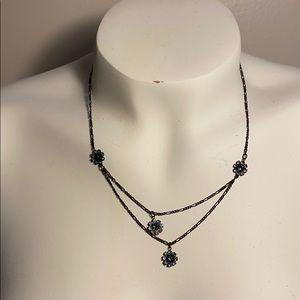 Flower Blue Rhinestone charm Necklace